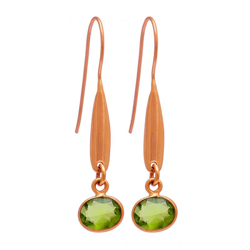 Oval Shape Peridot Gemstone 925 Sterling Silver Gold Plated Fixed Ear Wire Earrings