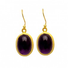 Cabochon Oval Amethyst Gemstone 925 Sterling Silver Gold Plated Dangle Earrings