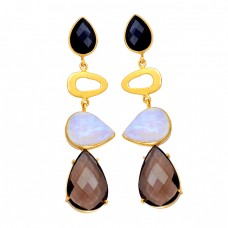 Onyx Moonstone Quartz Gemstone 925 Sterling Silver Gold Plated Stud Earrings