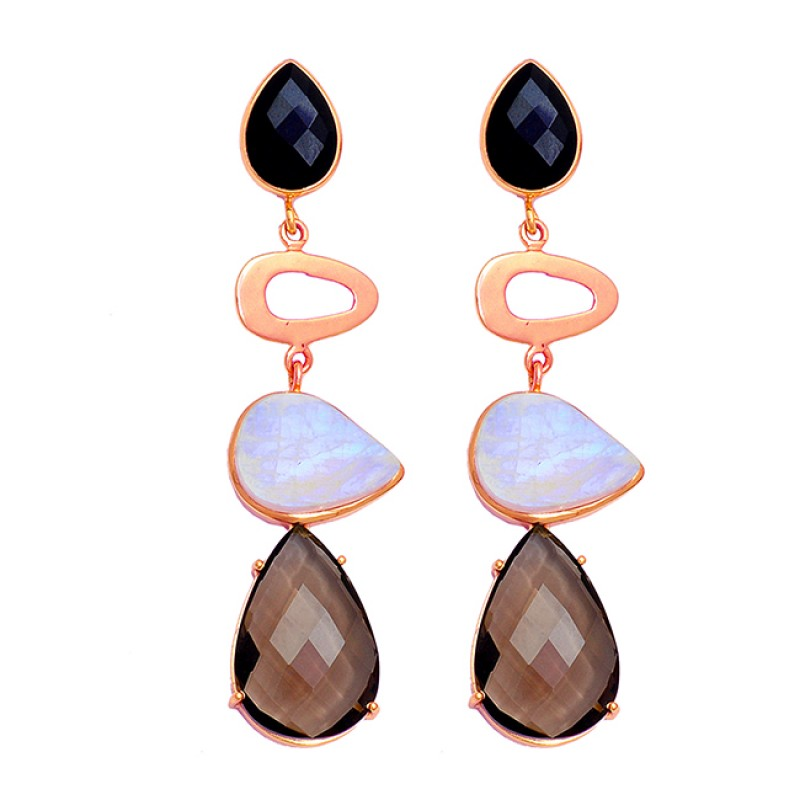 Onyx Moonstone Quartz Gemstone 925 Sterling Silver Gold Plated Stud Earrings