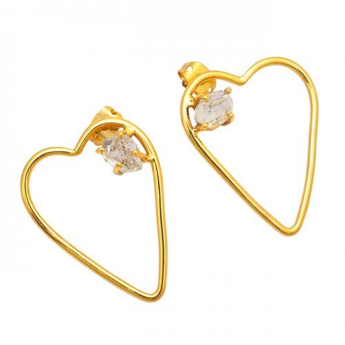 Crystal Pencil Shape Gemstone 925 Sterling Silver Gold Plated Stud Earrings