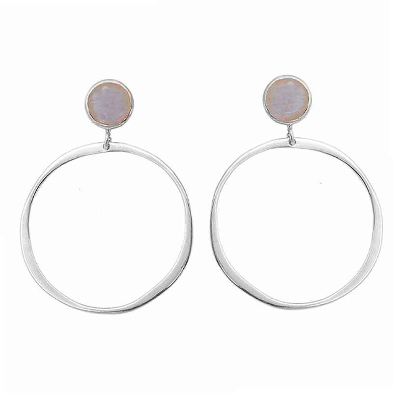 Rainbow Moonstone Round Shape Gemstone 925 Silver Gold Plated Stud Earrings