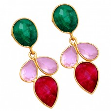 Emerald Pink Quartz Ruby Gemstone 925 Sterling Silver Gold Plated Stud Earrings