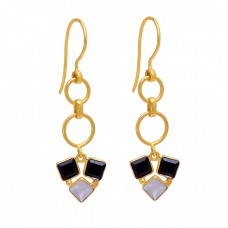 Rainbow Moonstone Black Onyx Gemstone 925 Sterling Silver Gold Plated Earrings