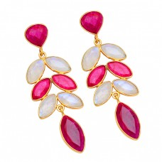 Rainbow Moonstone Ruby Gemstone 925 Sterling Silver Gold Plated Stud Earrings