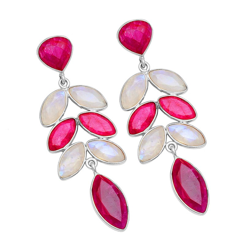 Rainbow Moonstone Ruby Gemstone 925 Sterling Silver Gold Plated Stud Earrings