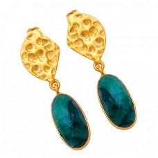 Oval Shape Emerald Gemstone 925 Sterling Silver Gold Plated Stud Dangle Earrings