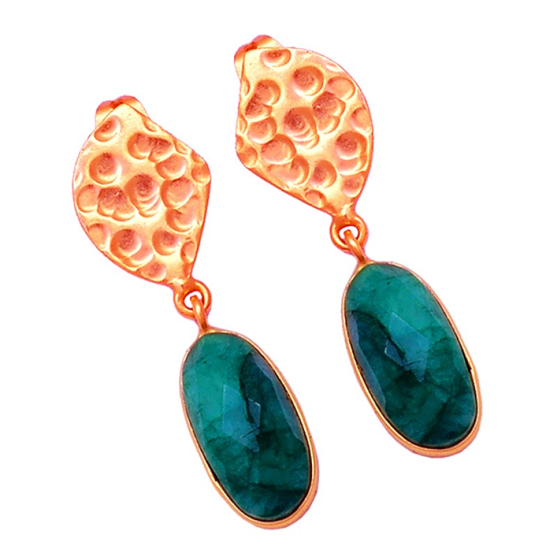 Oval Shape Emerald Gemstone 925 Sterling Silver Gold Plated Stud Dangle Earrings