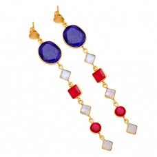 Sapphire Ruby Moonstone 925 Sterling Silver Gold Plated Stud Dangle Earrings
