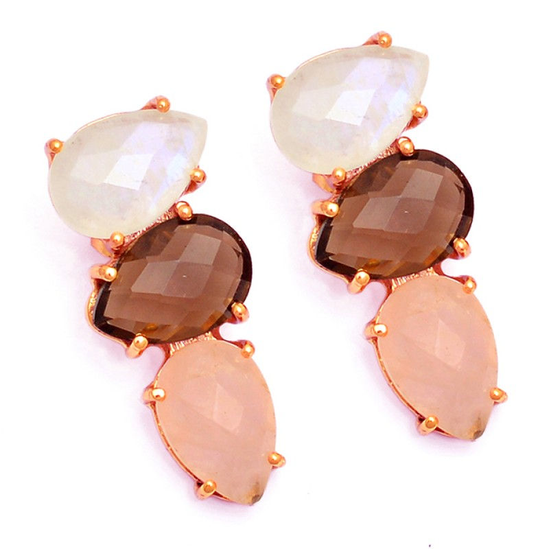Moonstone Smoky Rose Quartz 925 Sterling Silver Gold Plated Stud Earrings