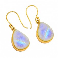 Mango Shape Moonstone 925 Sterling Silver Gold Plated Dangle Earrings