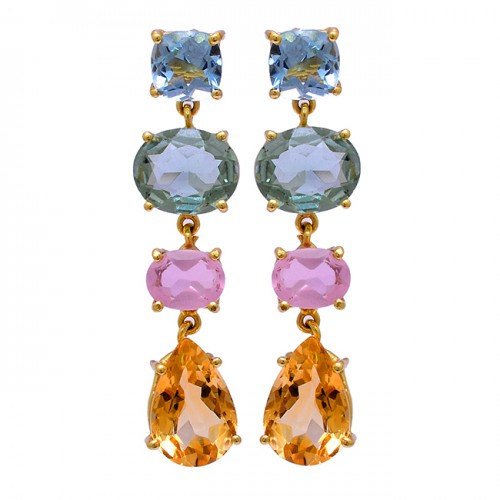 925 Sterling Silver Topaz Amethyst Chalcedony Citrine Gemstne Gold Plated Earrings