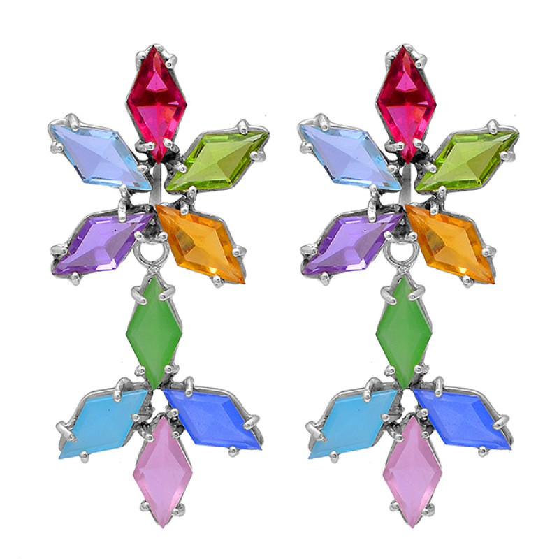 Marquise Shape Mulit Color Gemstone 925 Sterling Silver Gold Plated Stud Earrings