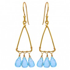 Blue Topaz Pear Drops Shape Gemstone 925 Sterling Silver Gold Plated Earrings