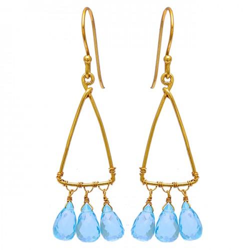 Blue Topaz Pear Drops Shape Gemstone 925 Sterling Silver Gold Plated Earrings