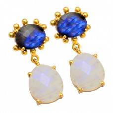 Labradorite Rainbow Moonstone 925 Sterling Silver Gold Plated Stud Earrings