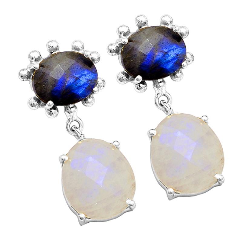 Labradorite Rainbow Moonstone 925 Sterling Silver Gold Plated Stud Earrings