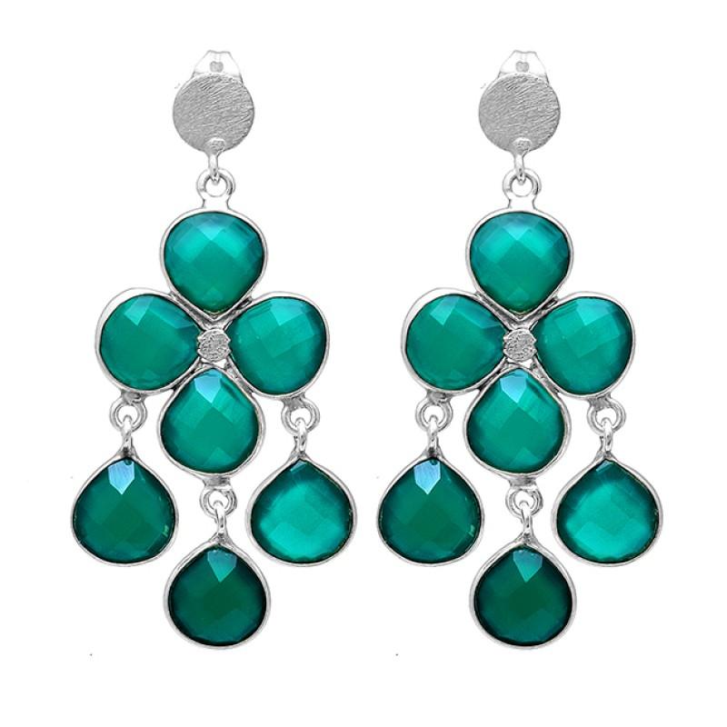 Green Onyx Heart Shape Gemstone 925 Sterling Silver Gold Plated Stud Earrings