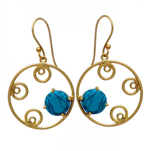 Round Shape Turquoise Gemstone 925 Sterling Silver Gold Plated Dangle Earrings