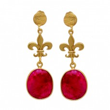 925 Sterling Silver Ruby Oval Shape Gemstone Gold Plated Dangle Stud Earrings