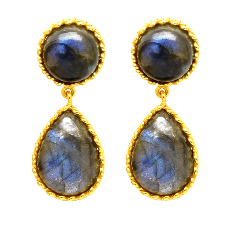 Cabochon Round Pear Labradorite Gemstone Gold Plated Handcrafted Stud Dangle Earrings Jewelry