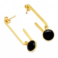 Black Onyx Round Shape Gemstone 925 Sterling Silver Gold Plated Earrings