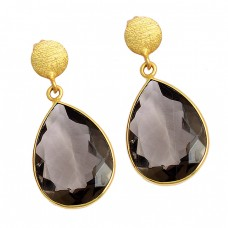 Pear Shape Smoky Quartz Gemstone 925 Sterling Silver Gold Plated Stud Earrings