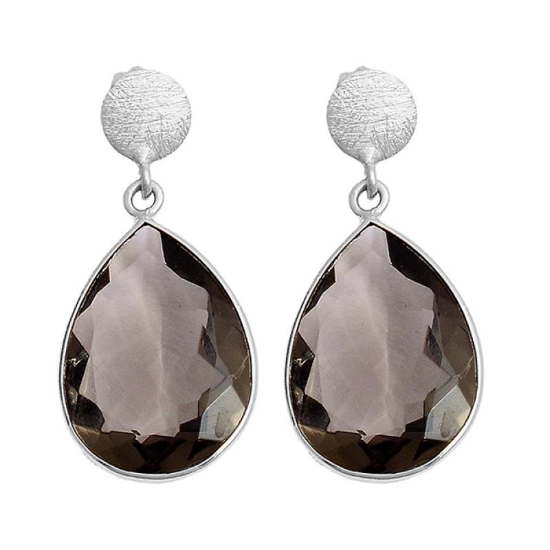 Pear Shape Smoky Quartz Gemstone 925 Sterling Silver Gold Plated Stud Earrings