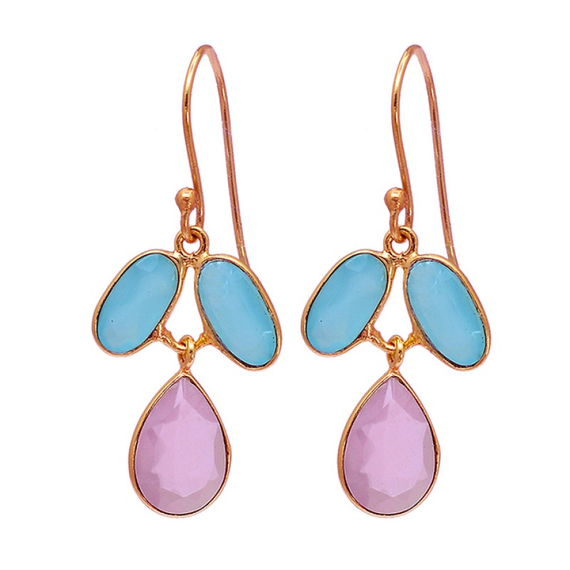 925 Sterling Silver Chalcedony Gemstone Gold Plated Dangle Earrings