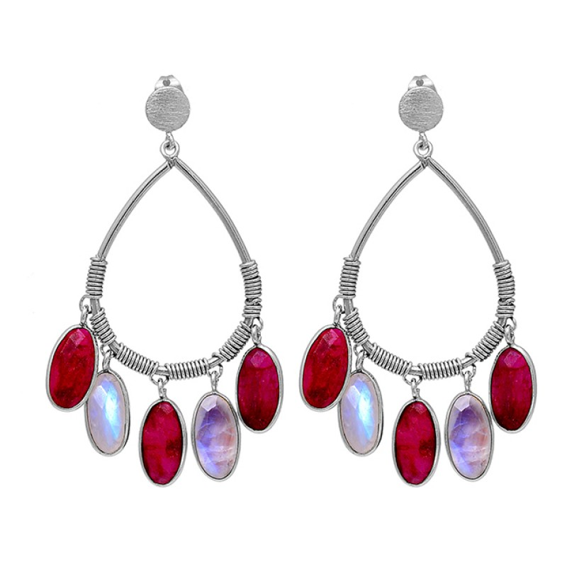 Ruby Rainbow Moonstone 925 Sterling Silver Gold Plated Dangle Stud Earrings