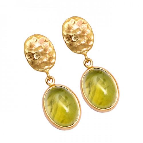 Prehnite Chalcedony Oval Shape Gemstone 925 Sterling Silver Gold Plated Earrings