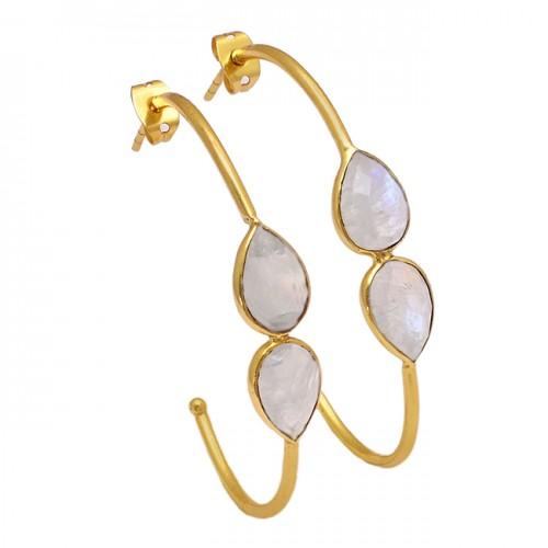 Rainbow Moonstone Pear Shape Gemstone 925 Silver Gold Plated Hoop Earrings