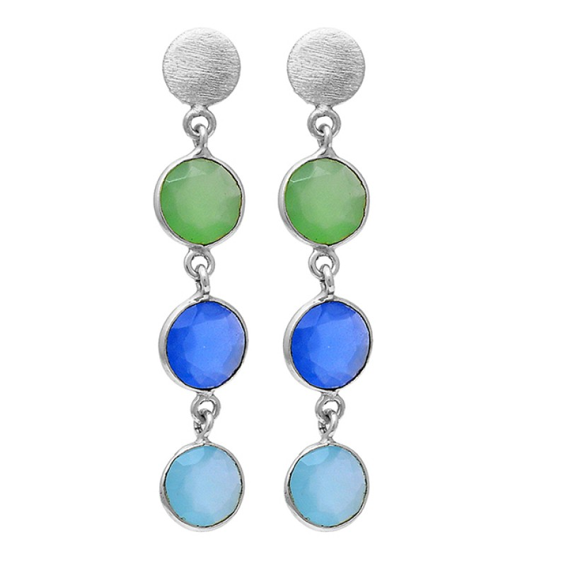 Bezel Setting Round Shape Chalcedony Gemstone 925 Silver Gold Plated Earrings