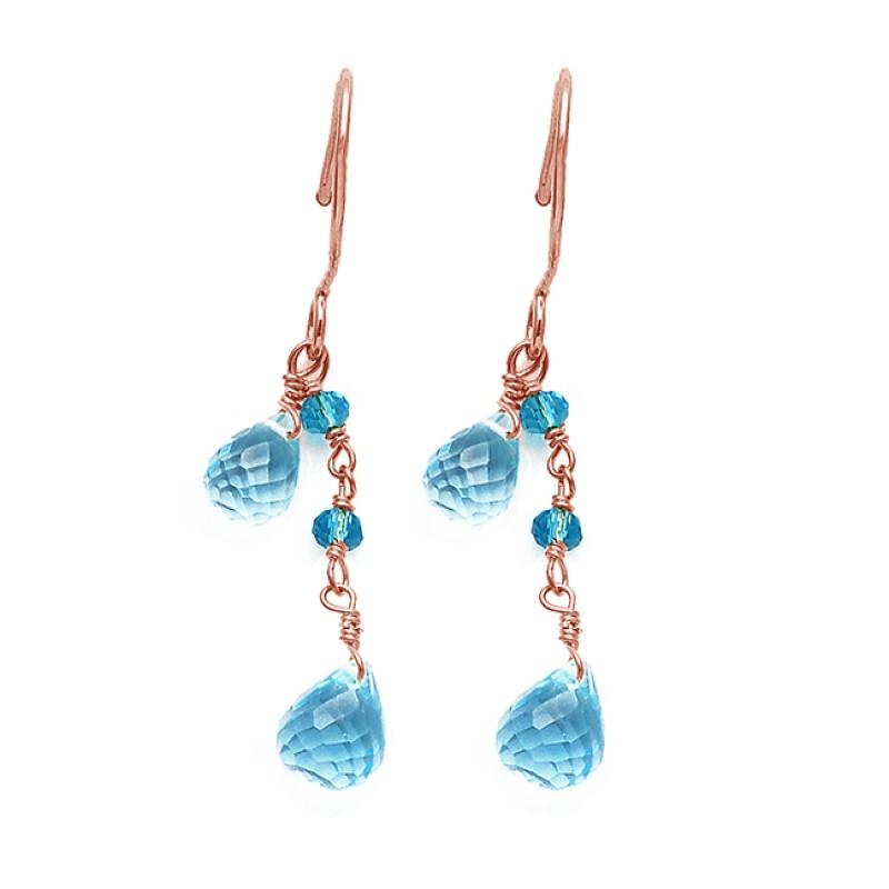 Roundel Beads Pear Drops Shape Blue Topaz Gemstone Gold Plated Dangle Earrings