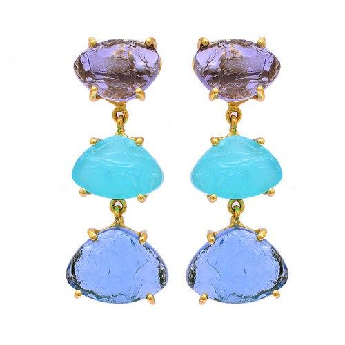 Prong Setting Amethyst Chalcedony Rough Gemstone Gold Plated Dangle Earrings