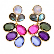 925 Sterling Silver Multi Gemstone Gold Plated Handmade Designer Earrings