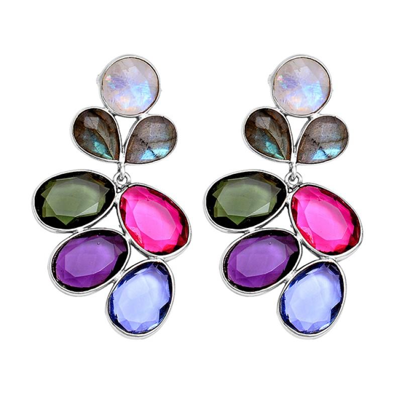 925 Sterling Silver Multi Gemstone Gold Plated Handmade Designer Earrings