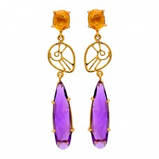 Amethyst Citrine Gemstone 925 Sterling Silver Gold Plated Stud Earrings