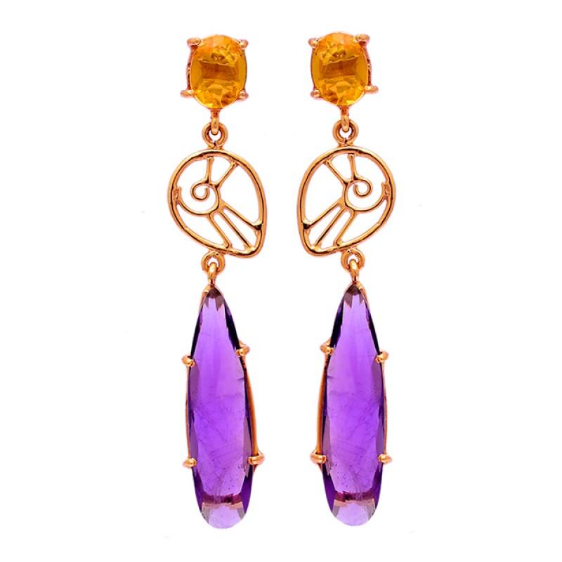 Amethyst Citrine Gemstone 925 Sterling Silver Gold Plated Stud Earrings