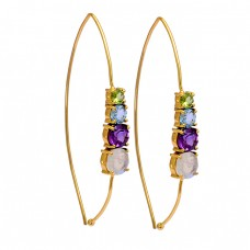 Peridot Topaz Amethyst Moonstone 925 Sterling Silver Gold Plated Hoop Earrings