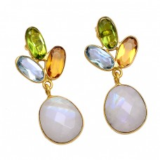 Topaz Citrine Moonstone Paridot 925 Sterling Silver Gold Plated Stud Earrings