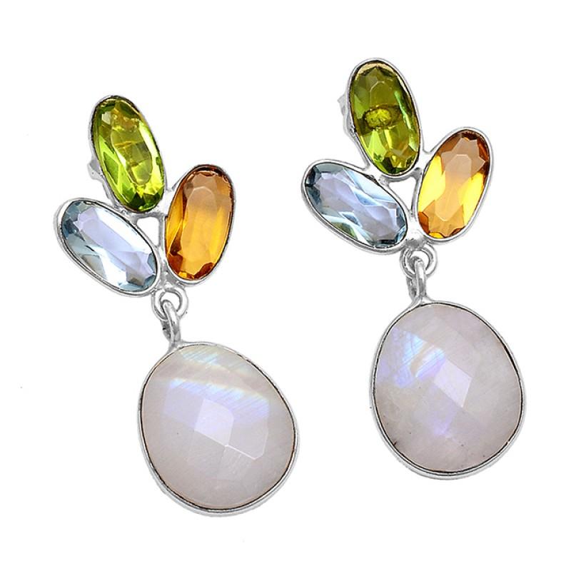 Topaz Citrine Moonstone Paridot 925 Sterling Silver Gold Plated Stud Earrings