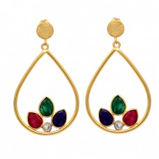 Ruby Emerald Sapphire Cz Gemstone 925 Sterling Silver Gold Plated Stud Earrings