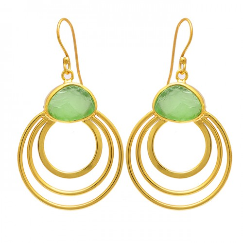 925 Sterling Silver Prehnite Chalcedony Rough Gemstone Gold Plated Earrings