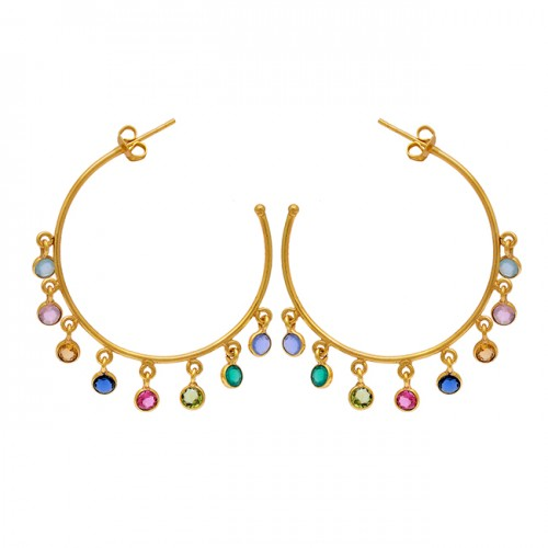 925 Sterling Silver Round Shape Multi Gemstone Gold Plated Hoop Earrings