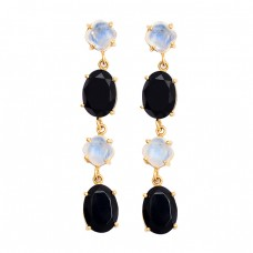 Rainbow Moonstone Black Onyx Gemstone 925 Silver Gold Plated Stud Earrings