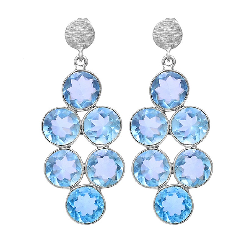 925 Sterling Silver Blue Topaz Round Shape Gemstone Gold Plated Stud Earrings