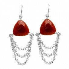 Cabochon Triangle Red Onyx Gemstone Chain Hanging Gold Plated Silver Dangle Earrings