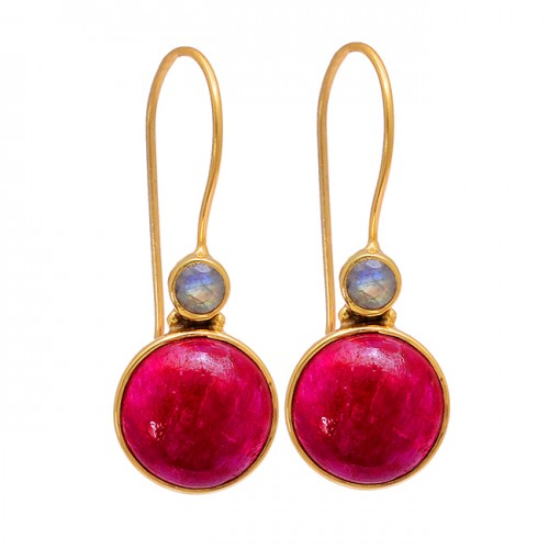 Ruby Rainbow Moonstone 925 Sterling Silver Gold Plated Fixe Ear Wire Earrings