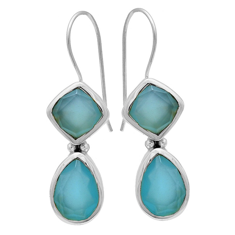 Square Pear Shape Chalcedony Gemstone 925 Sterling Silver Gold Plated Earrings